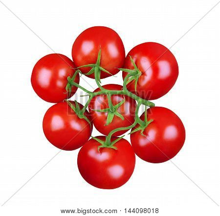 top view of a bunch of tomatoes with green stem isolated on white