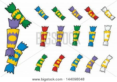 Christmas cracker cartoons in three designs each in red blue green purple and white.