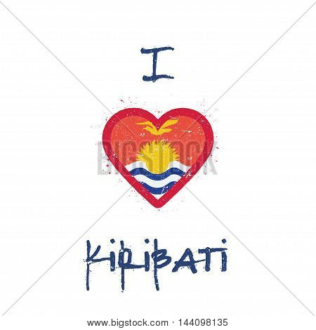 I Love Kiribati T-shirt Design. I-kiribati Flag In The Shape Of Heart On White Background. Grunge Ve