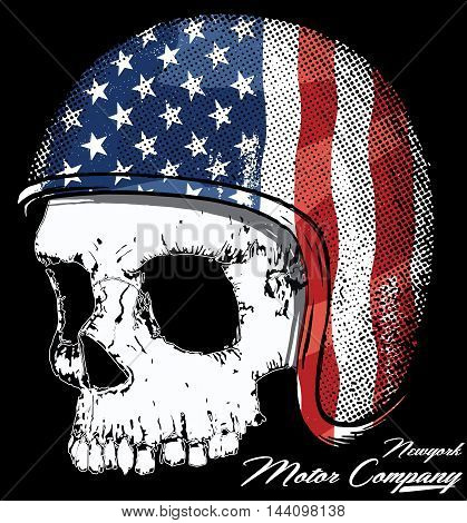 Motorcycle Helmet with American flag with skull Vector graphic for t shirt