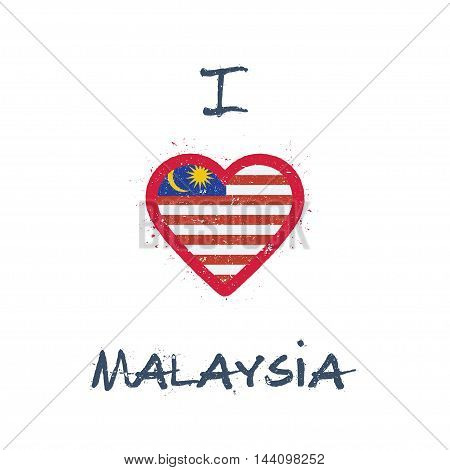 I Love Malaysia T-shirt Design. Malaysian Flag In The Shape Of Heart On White Background. Grunge Vec