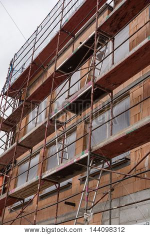 Safety of building sites scaffolding during construction