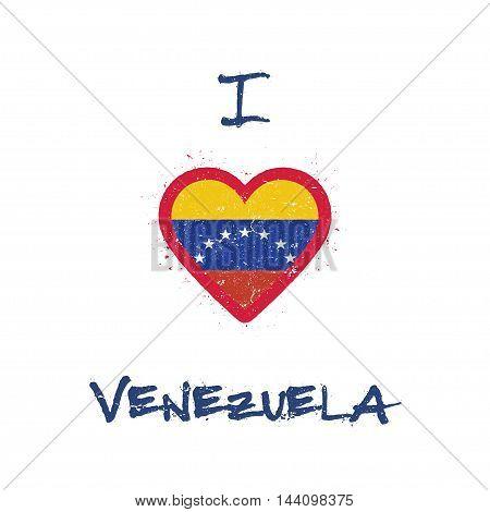 I Love Venezuela, Bolivarian Republic Of T-shirt Design. Venezuelan Flag In The Shape Of Heart On Wh