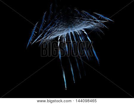 Flying fractal abstraction on a black background. Space object consisting of many similar.
