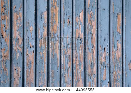 weathered wooden boards background with blue peeling paint