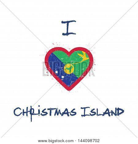 I Love Christmas Island T-shirt Design. Christmas Island Flag In The Shape Of Heart On White Backgro