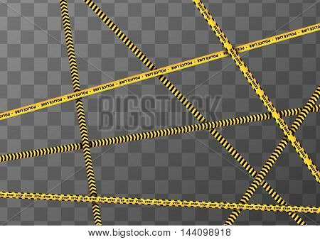 A lot of different yellow and black caution tapes on transparent a4 background
