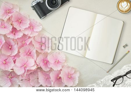 Pretty Styled Desktop Mockup flat lay stock photography with tablet device white background great for lifestyle bloggers and small businesses