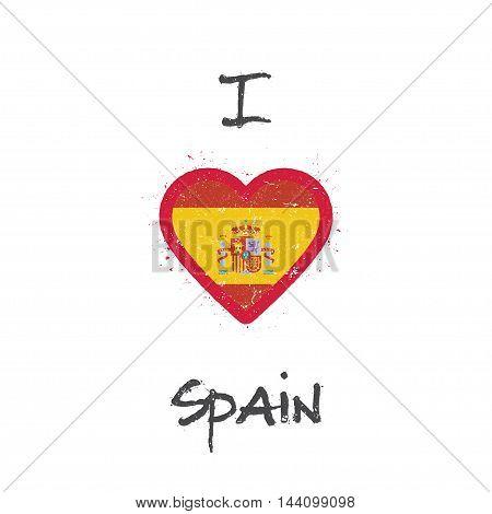 I Love Spain T-shirt Design. Spanish Flag In The Shape Of Heart On White Background. Grunge Vector I