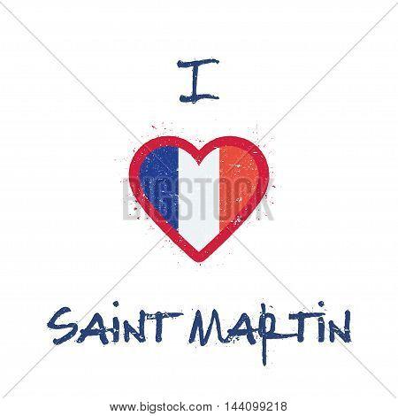 I Love Saint Martin T-shirt Design. Saint Martin Islander Flag In The Shape Of Heart On White Backgr