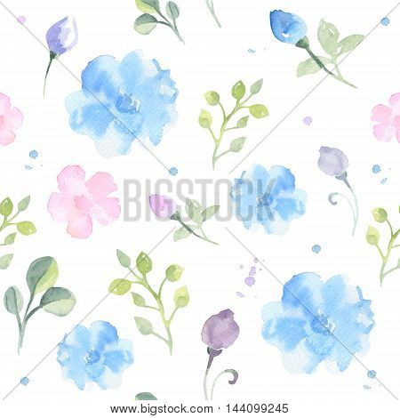 Hand drawn watercolor seamless cute floral pattern. Watercolor drops, splashes, flowers, leaves  on white background