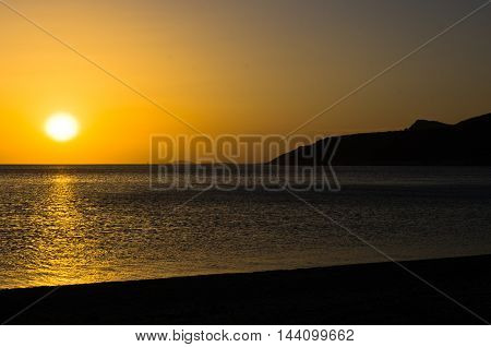 Sunset at the most southern beach of Sithonia, Greece