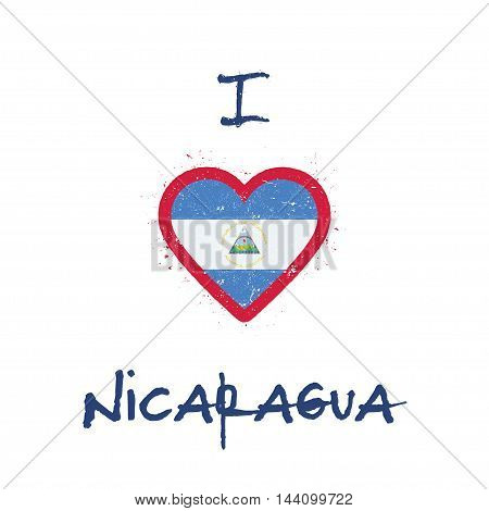 I Love Nicaragua T-shirt Design. Nicaraguan Flag In The Shape Of Heart On White Background. Grunge V