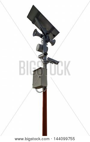 CCTV camera and speakers pole isolated on white background.