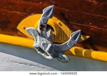 Colorful anchor of a ship which sails near greek coast in Sithonia, Greece