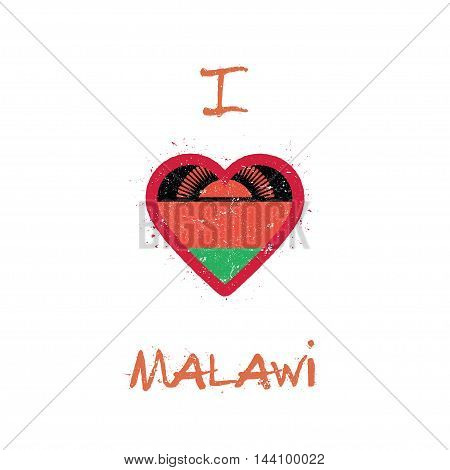 I Love Malawi T-shirt Design. Malawian Flag In The Shape Of Heart On White Background. Grunge Vector
