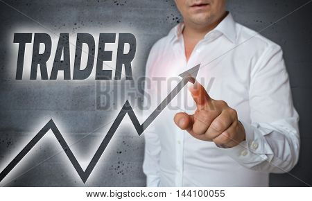 Trader touchscreen is operated by man background