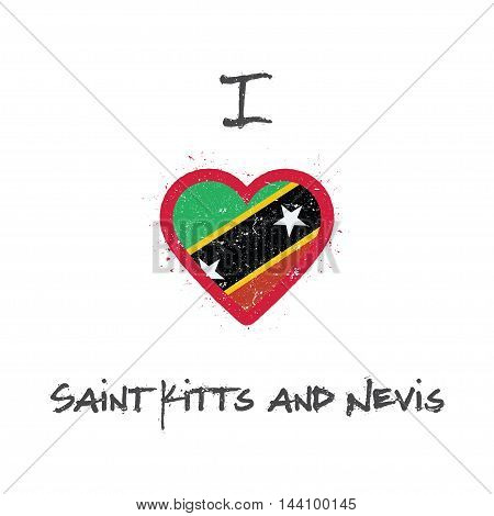 I Love Saint Kitts And Nevis T-shirt Design. Kittian And Nevisian Flag In The Shape Of Heart On Whit