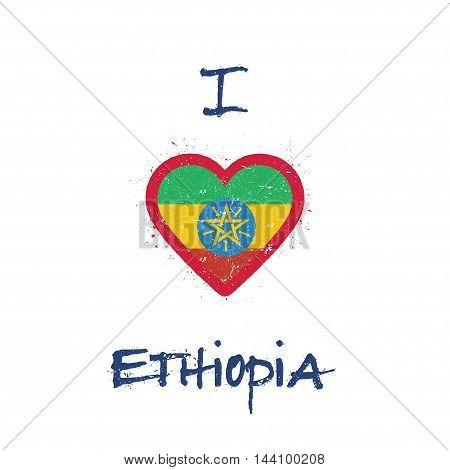 I Love Ethiopia T-shirt Design. Ethiopian Flag In The Shape Of Heart On White Background. Grunge Vec