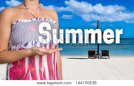 summer concept presented by woman on the beach.
