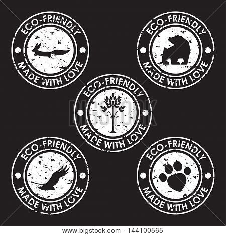 Round Eco Friendly Stamp. Nature, Animal Products, Wildlife Theme.