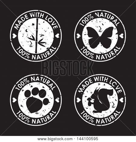 Stamp Set. Round Old Distort Eco Friendly Stamp. Nature, Animal Products, Wildlife Theme.