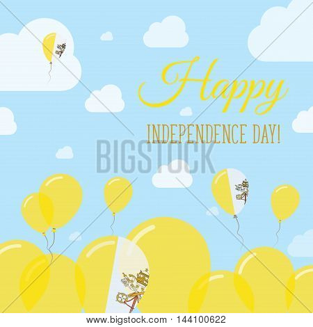 Holy See (vatican City State) Independence Day Flat Patriotic Design. Italian Flag Balloons. Happy N