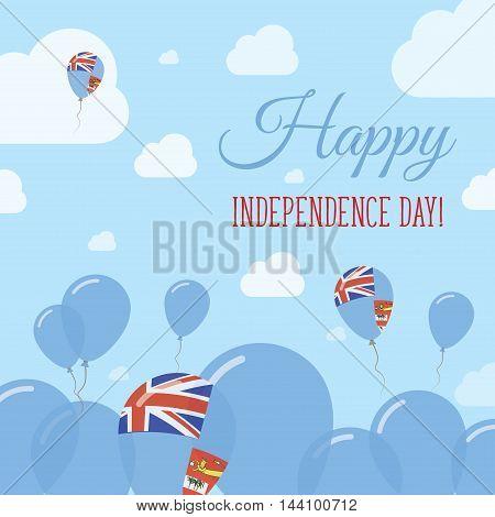 Fiji Independence Day Flat Patriotic Design. Fijian Flag Balloons. Happy National Day Vector Card.