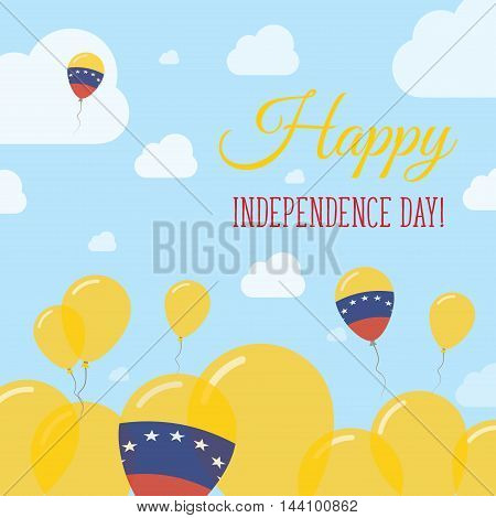 Venezuela, Bolivarian Republic Of Independence Day Flat Patriotic Design. Venezuelan Flag Balloons.