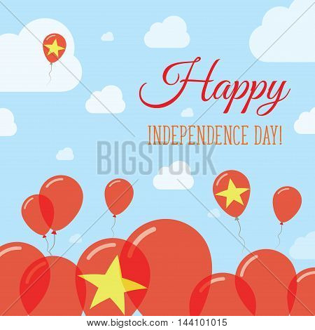 Vietnam Independence Day Flat Patriotic Design. Vietnamese Flag Balloons. Happy National Day Vector