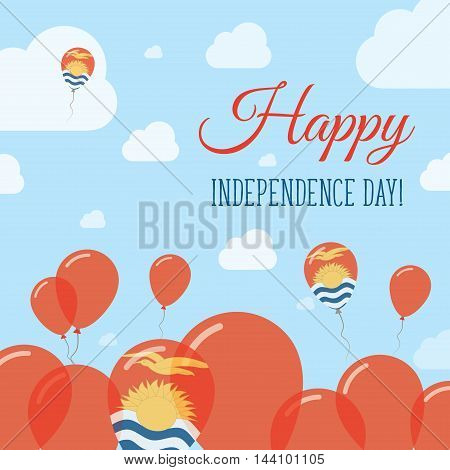 Kiribati Independence Day Flat Patriotic Design. I-kiribati Flag Balloons. Happy National Day Vector