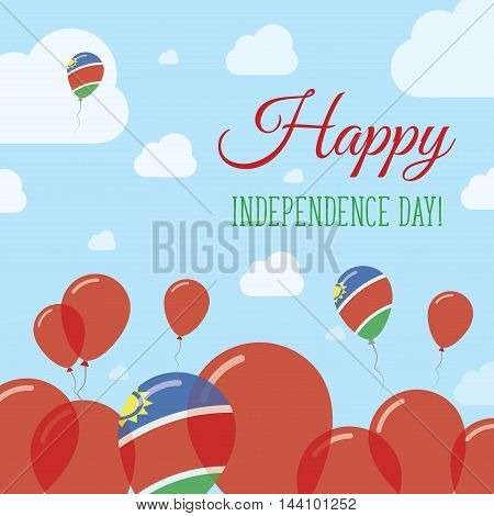 Namibia Independence Day Flat Patriotic Design. Namibian Flag Balloons. Happy National Day Vector Ca