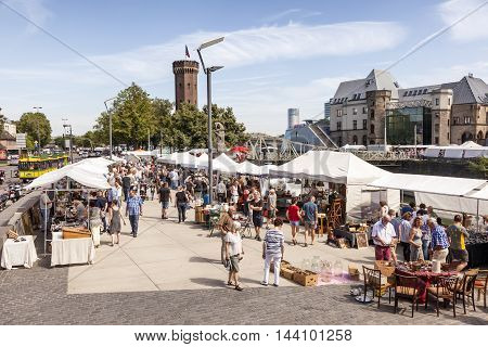 COLOGNE GERMANY - AUG 7 2016: Flea market in the city of Cologne. North Rhine-Westphalia Germany
