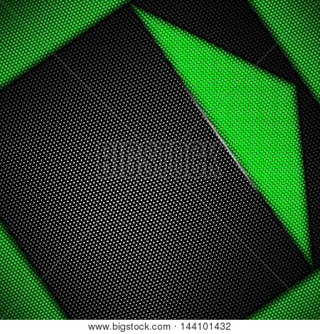 green carbon fiber background. 3d illustration material design. racing style.