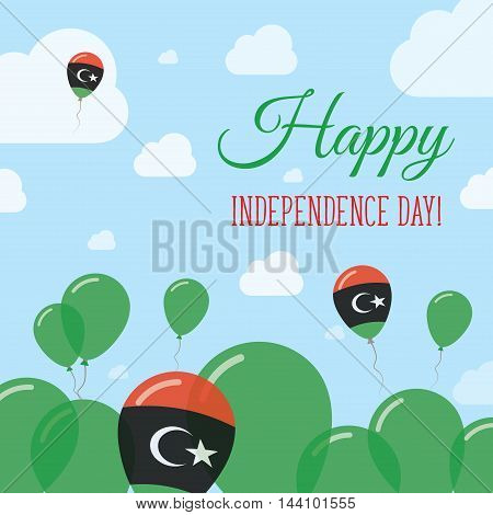 Libya Independence Day Flat Patriotic Design. Libyan Flag Balloons. Happy National Day Vector Card.