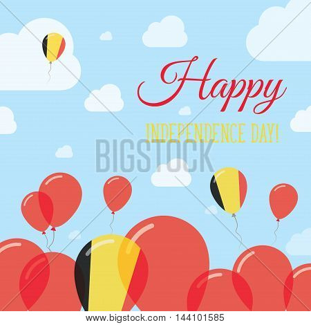 Belgium Independence Day Flat Patriotic Design. Belgian Flag Balloons. Happy National Day Vector Car