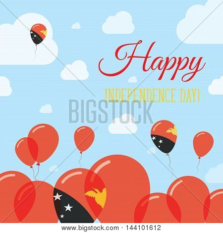 Papua New Guinea Independence Day Flat Patriotic Design. Papua New Guinean Flag Balloons. Happy Nati