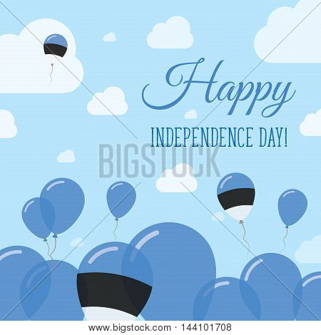 Estonia Independence Day Flat Patriotic Design. Estonian Flag Balloons. Happy National Day Vector Ca