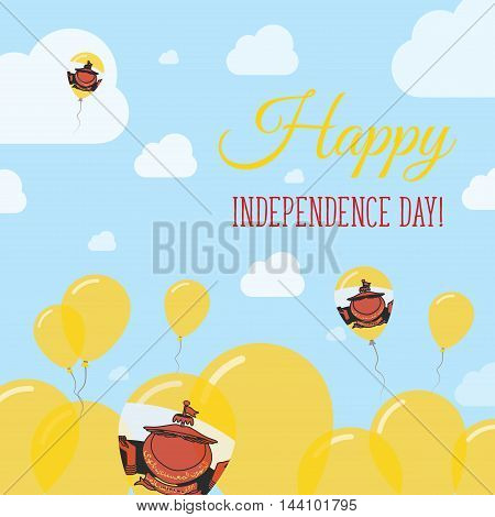 Brunei Darussalam Independence Day Flat Patriotic Design. Bruneian Flag Balloons. Happy National Day