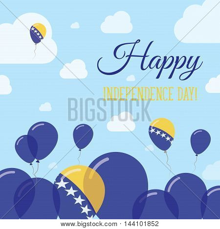 Bosnia And Herzegovina Independence Day Flat Patriotic Design. Bosnian, Herzegovinian Flag Balloons.