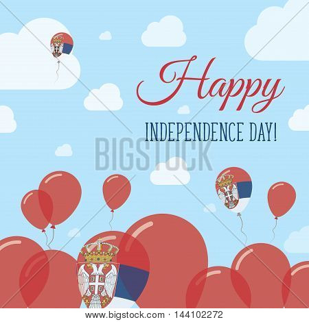 Serbia Independence Day Flat Patriotic Design. Serbian Flag Balloons. Happy National Day Vector Card