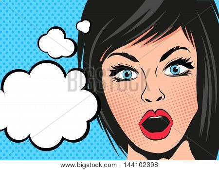 A retro cartoon woman with a shocked expression and speech bubbles. Vector illustration.