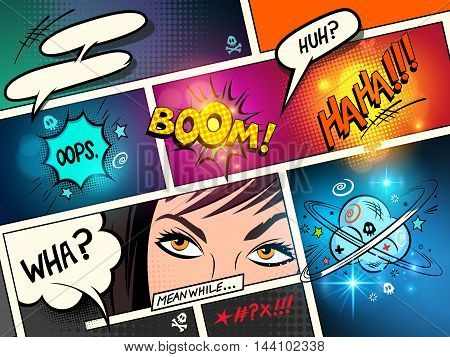 Speech Bubbles on a comic strip background with cartoon actions. vector illustration