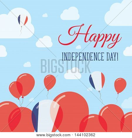 France Independence Day Flat Patriotic Design. French Flag Balloons. Happy National Day Vector Card.