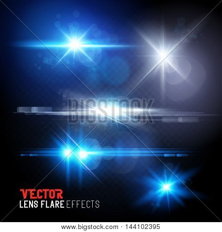 A Set of lens flares and sun flares. Vector illustration transparent effects.