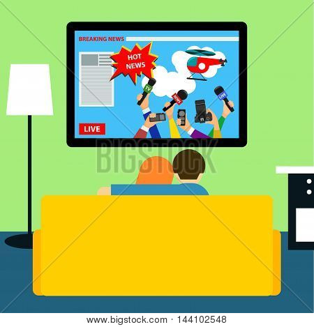 Couple Watching Hot News On Television. Flat Style Room Interior