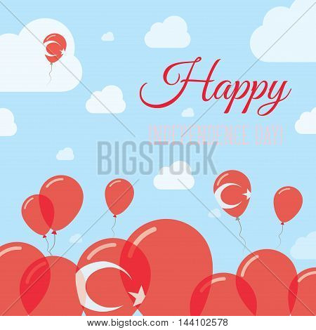Turkey Independence Day Flat Patriotic Design. Turkish Flag Balloons. Happy National Day Vector Card