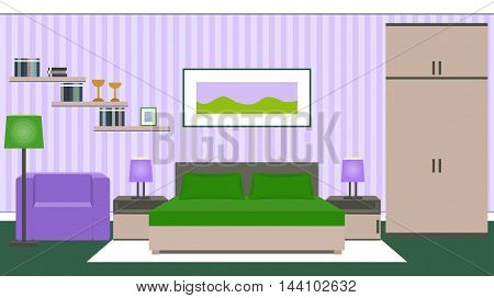 Bedroom interior with furniture - bed, bedside tables, wardrobe, armchair in green and violet colors. Vector illustration.