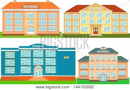 Set of colorful school buildings. Vector illustration.