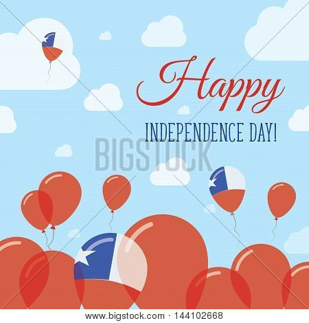 Chile Independence Day Flat Patriotic Design. Chilean Flag Balloons. Happy National Day Vector Card.